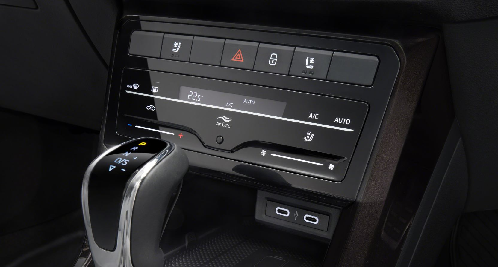 Touch controls for the climate control system better executed than in some other cars, but still a bit fiddly. Image: Skoda