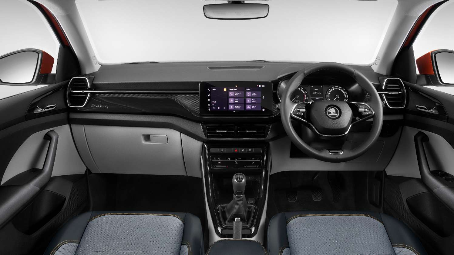 Skoda has smartly used different textures for the multi-layer dashboard of the Kushaq. Image: Skoda