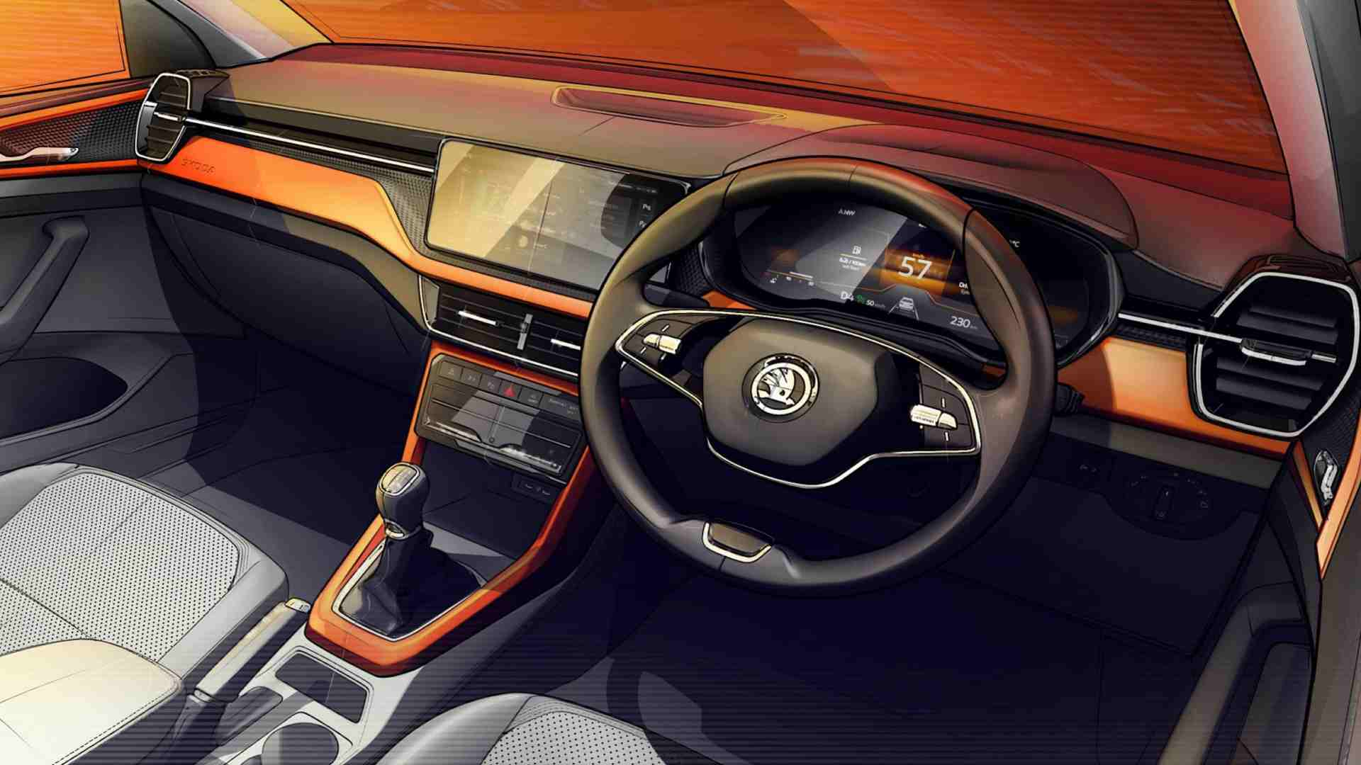 Skoda Kushaq interior previewed in design sketches, SUV to debut on 18 March