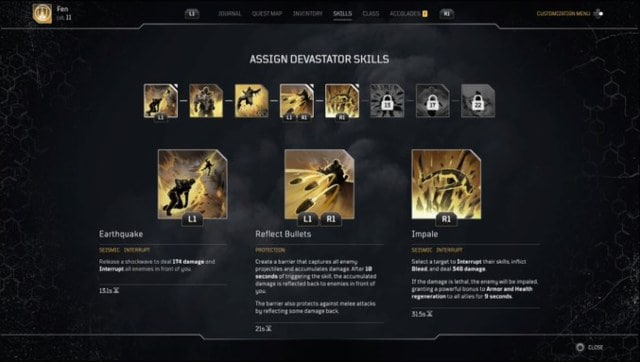 Most of the skills in the Devastator class involve manipulating the ground. Think earth-bending from Avatar, but with huge shotguns. Screen grab from Outriders