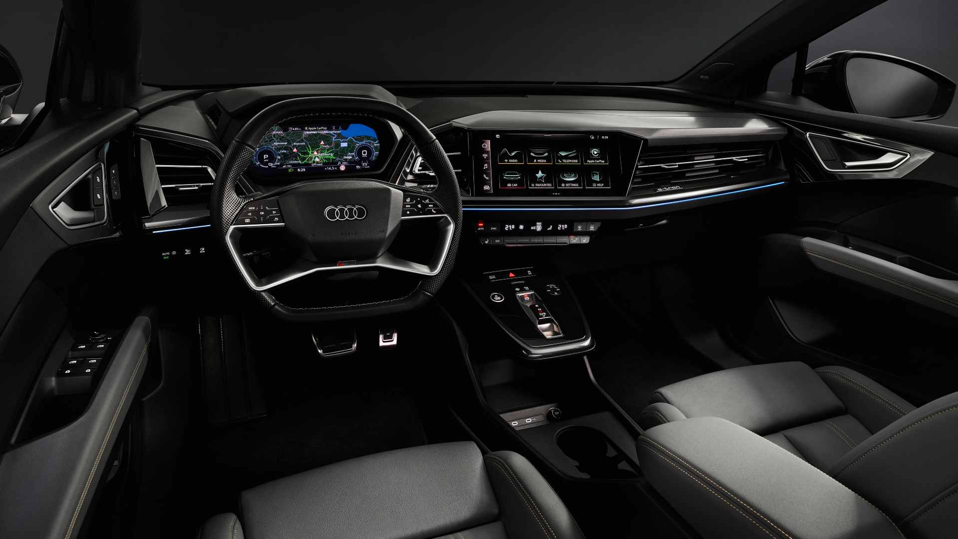 A highlight of the Audi Q4 e-tron's interior is the augmented reality head-up display. Image: Audi