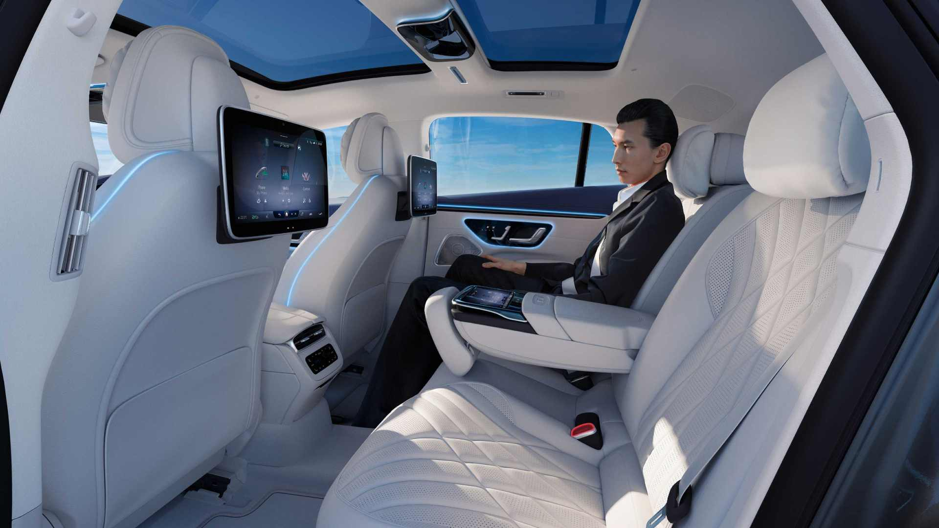 The Mercedes-Benz EQS is said to have even more rear seat space than the S-Class. Image: Mercedes-Benz
