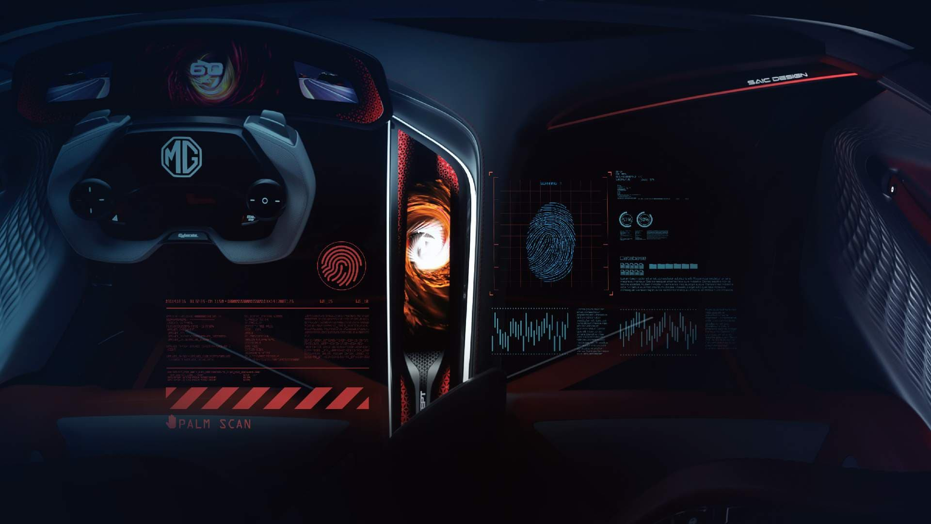 The MG Cyberster has a gaming-themed interior - which will, of course, be watered down for the production model. Image: MG