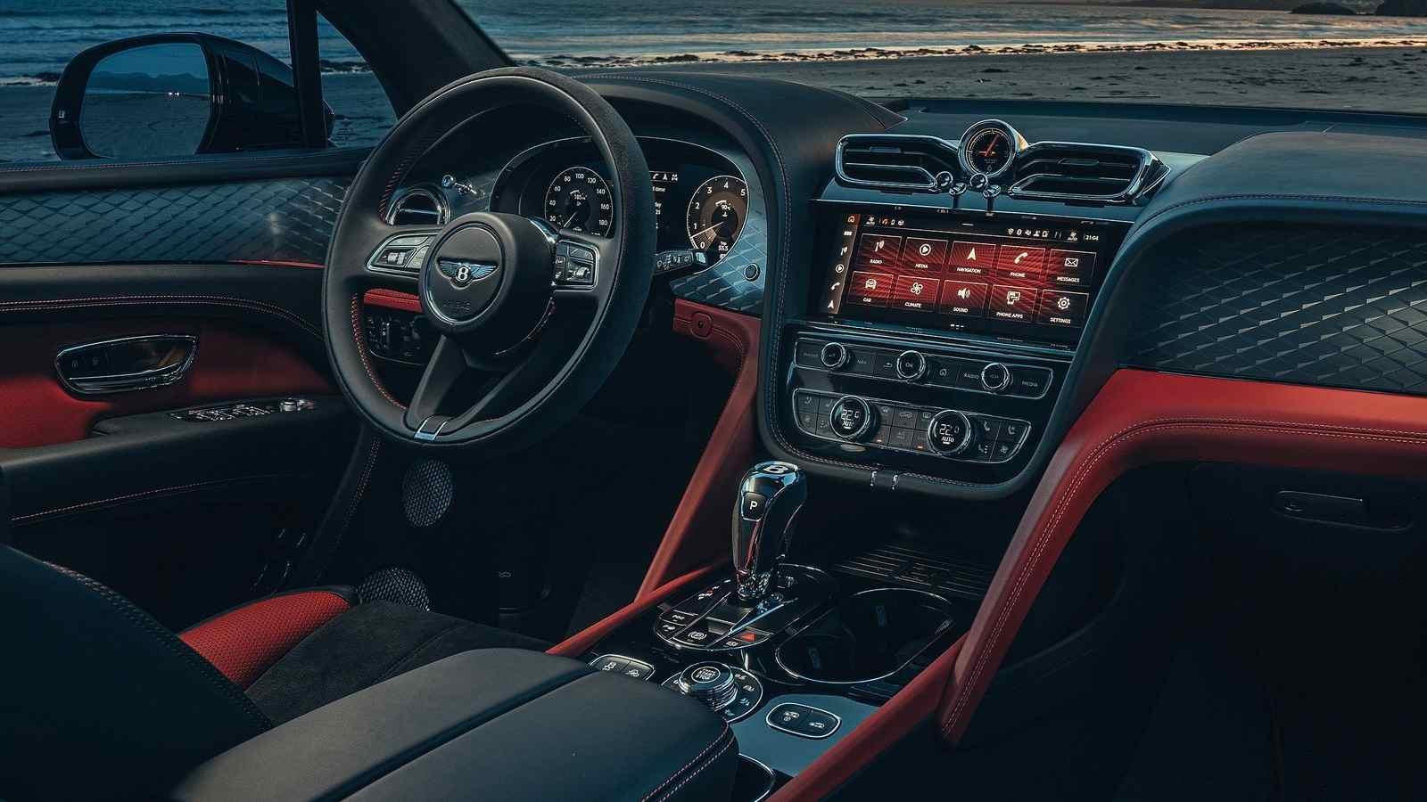 The Bentley Bentayga S' interior features swathes of alcantara. Image: Bentley