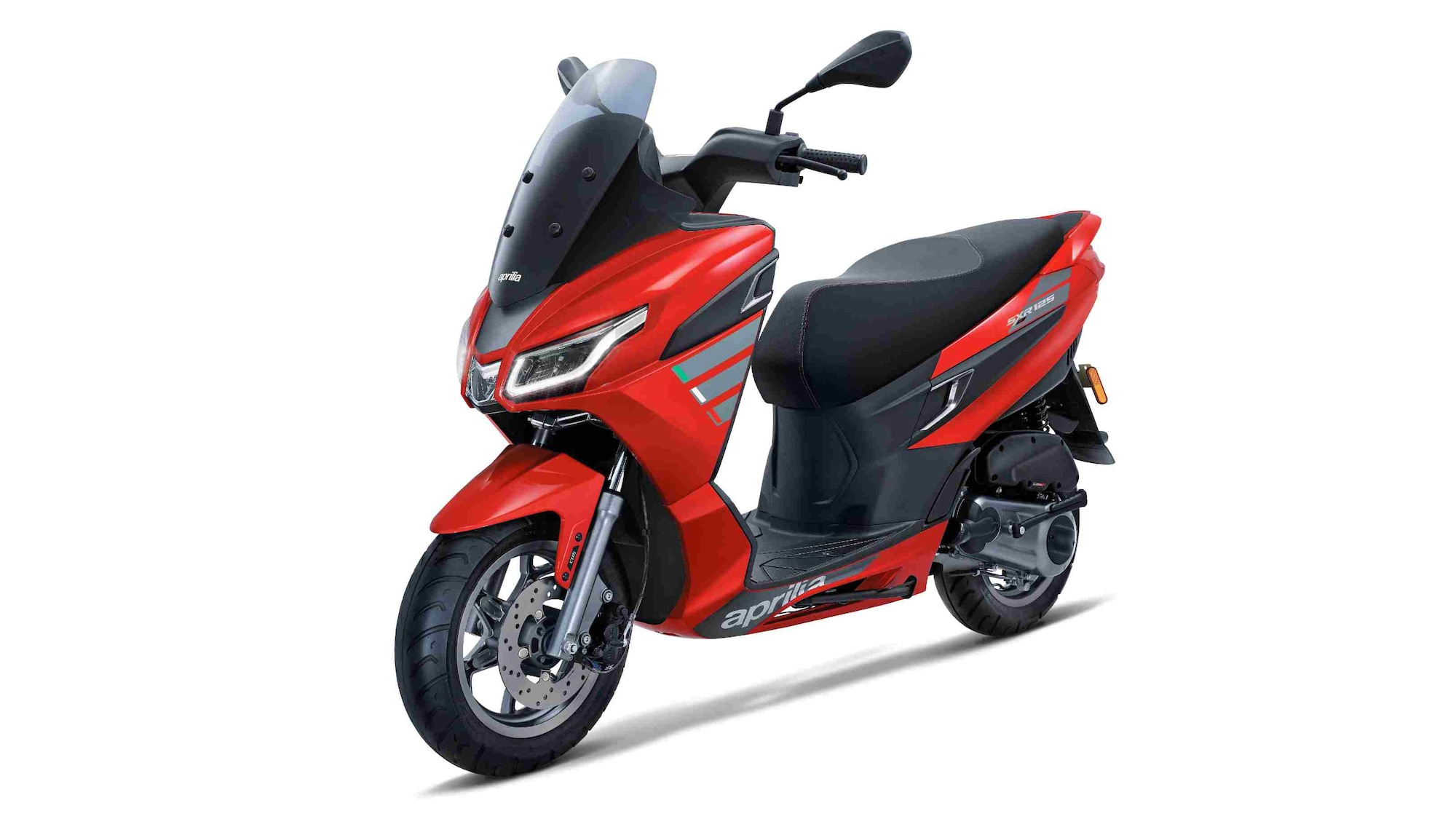The Aprilia SXR 125 is notably less powerful than the SXR 160, and also misses out on ABS. Image: Aprilia