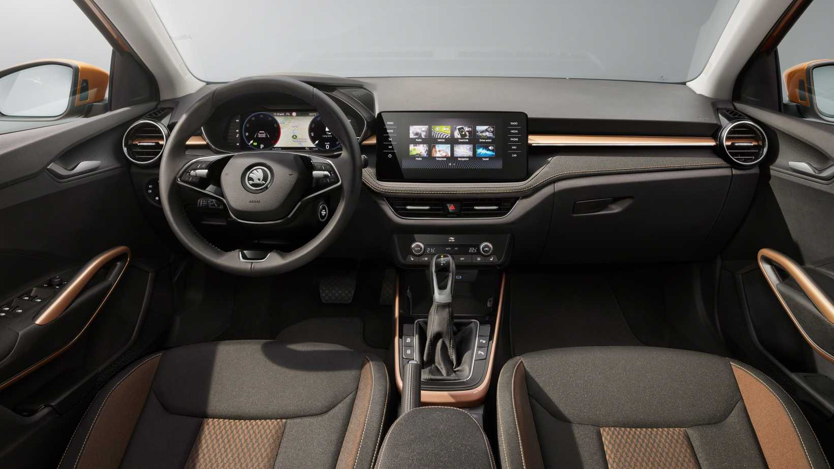 The new Skoda Fabia's interior appears to have plenty in common with the Kushaq's. Image: Skoda
