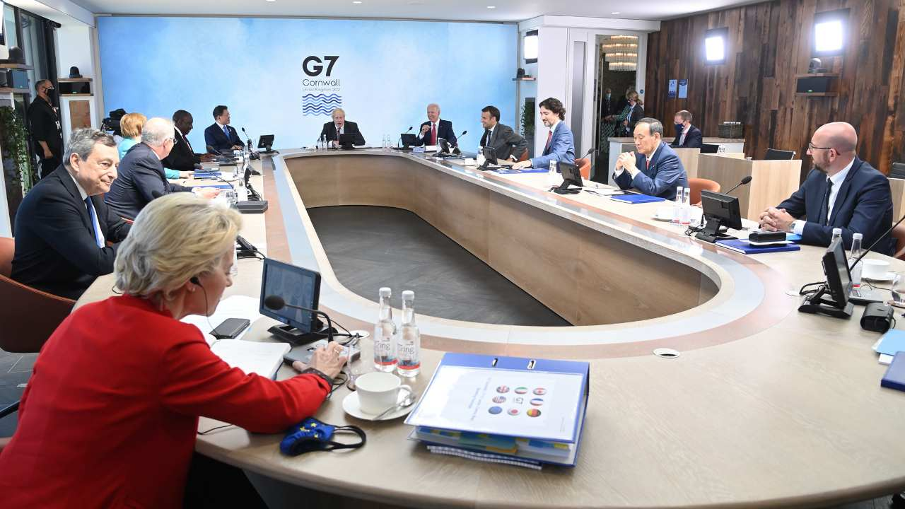 World leaders in the plenary room at Carbis Bay hotel during the G7 Summit in Cornwall, UK on 12th June 2021. Image credit: Karwai Tang/G7 Cornwall 2021/Flickr
