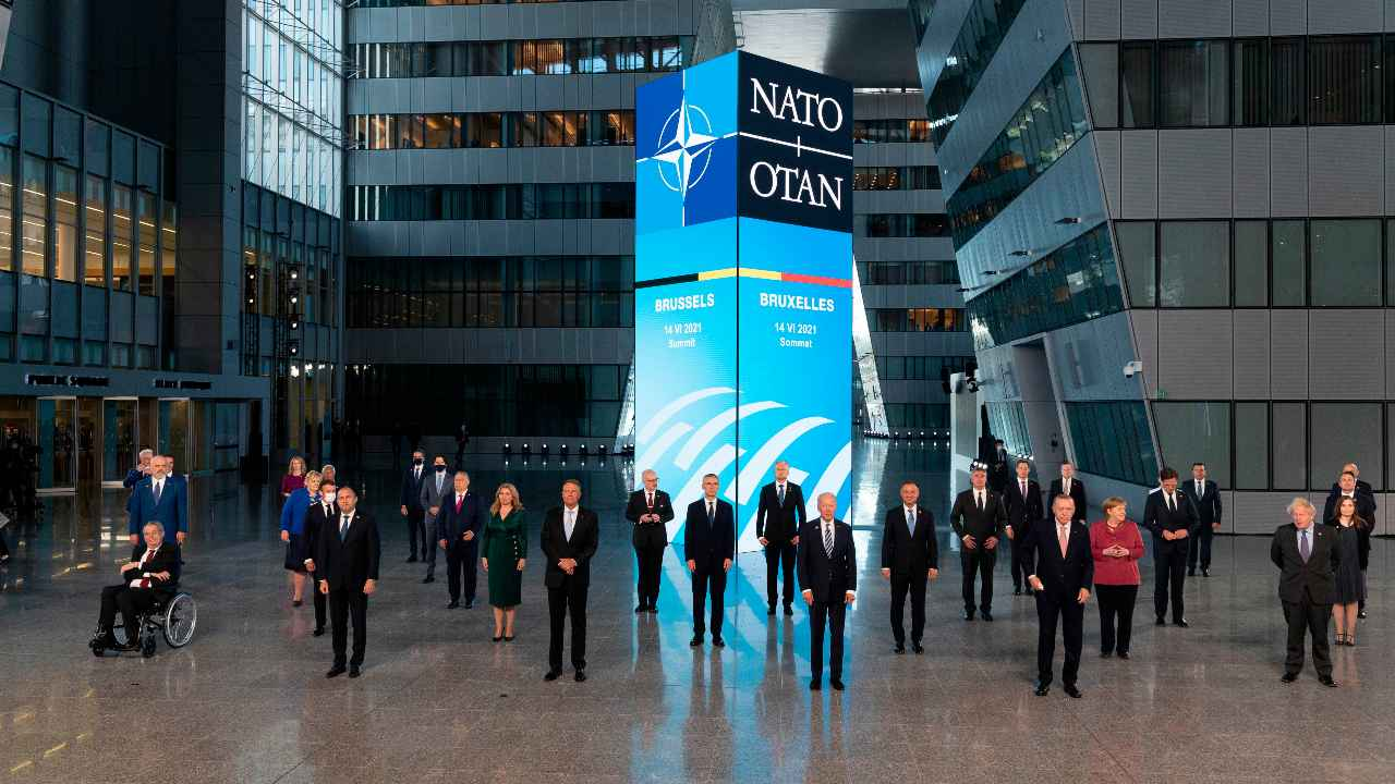 Leaders pose during a family picture at the NATO headquarters where the 30-nation alliance hopes to reaffirm its unity and discuss increasingly tense relations with China and Russia, as the organization pulls its troops out after 18 years in Afghanistan, Monday June, 14, 2021. (Jacques Witt, Pool via AP)