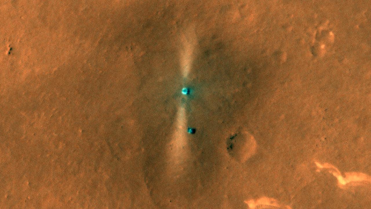 China's Zhurong lander and rover as visible on Mars by NASA's Mars Reconnaissance Orbiter camera — HiRISE. Image credit: NASA/JPL