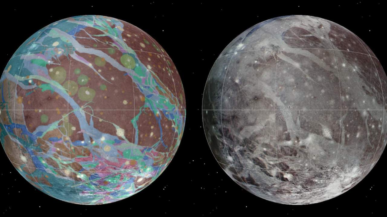 Left to right: The mosaic and geologic maps of Jupiter's moon Ganymede were assembled incorporating the best available imagery from NASA's Voyager 1 and 2 spacecraft and NASA's Galileo spacecraft. Credit: USGS Astrogeology Science Center/Wheaton/NASA/JPL-Caltech