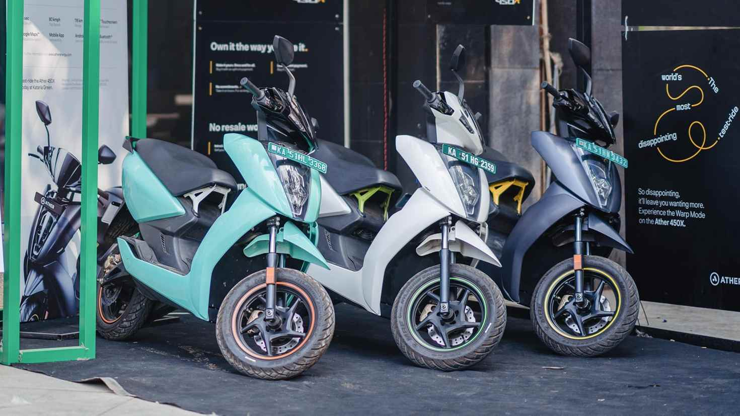 Prices of Ather Energy's 450 Plus and 450X scooters in Gujarat are set to drop by Rs 20,000. Image: Ather Energy