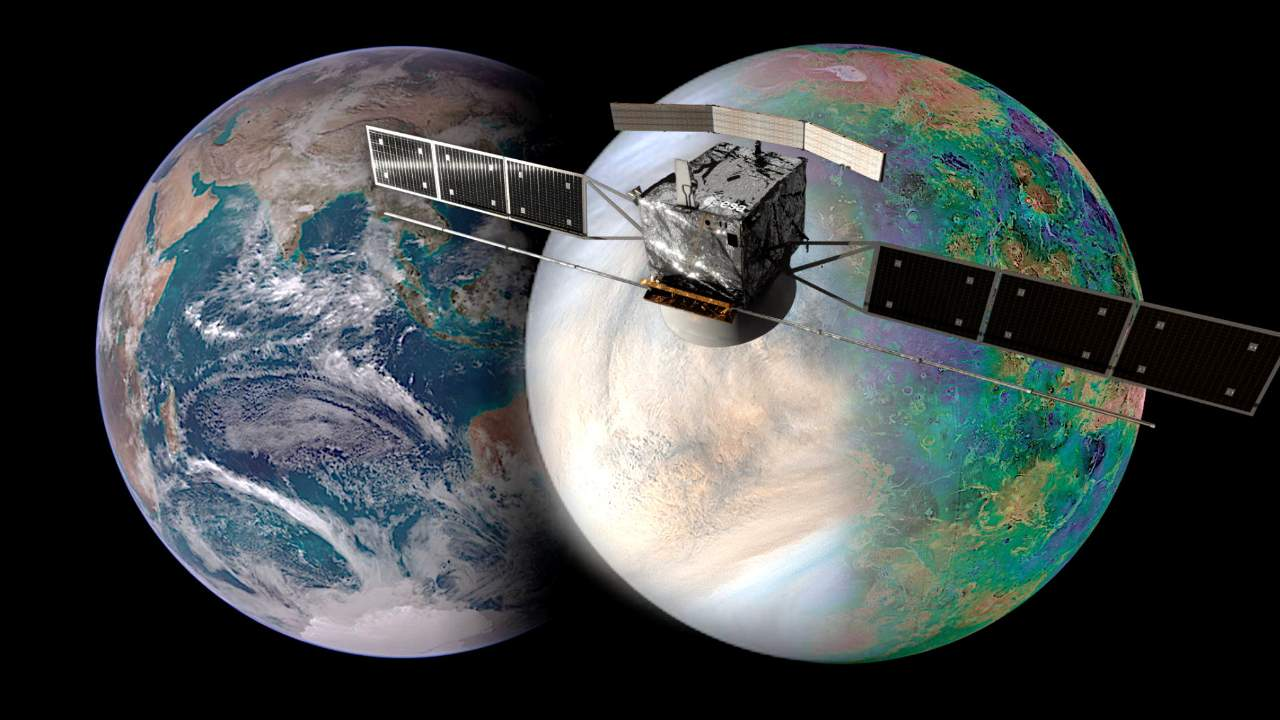 The image shows Earth (left) and Venus (right), and how similar they are in size. How did these sister planets evolve to end up so different? The EnVision mission (spacecraft render in image) aims to answer some of these key questions, and the NASA-provided EnVision Venus Synthetic Aperture Radar (VenSAR) will play a center role. The VenSAR will be built and operated by JPL. Credits: European Space Agency / Paris Observatory / VR2Planets