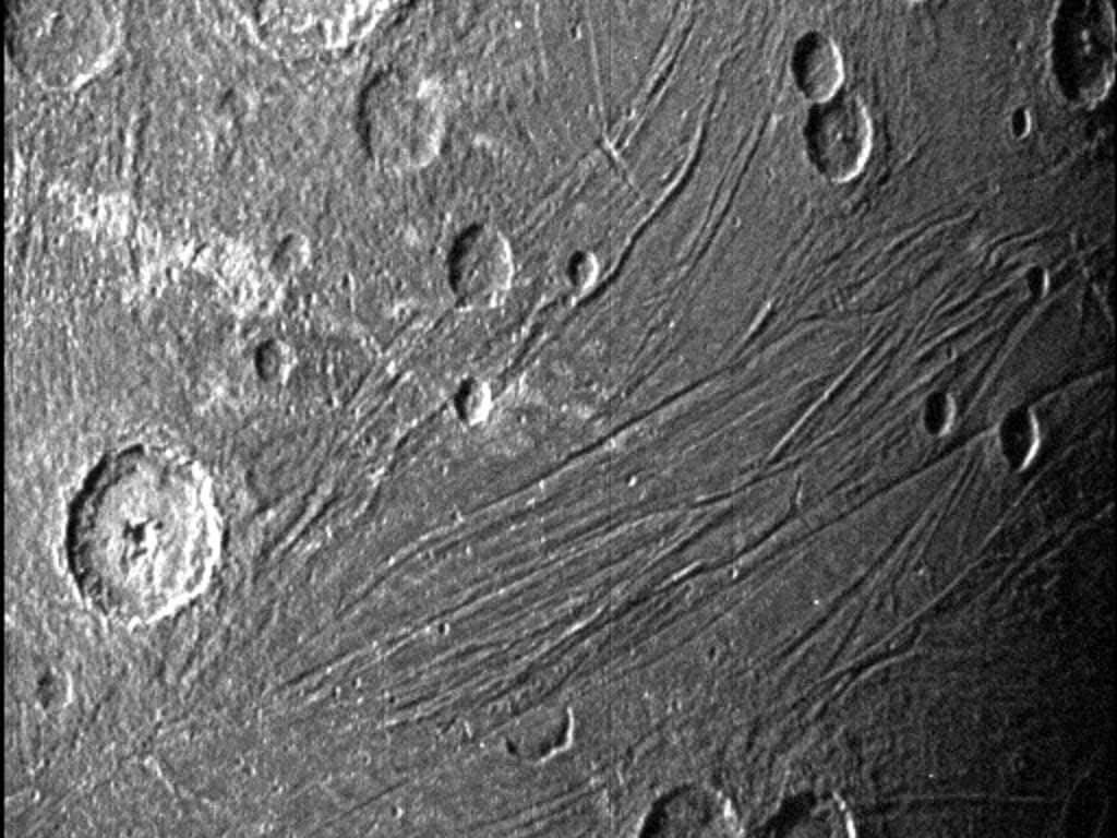This image of the dark side of Ganymede was obtained by Juno's Stellar Reference Unit navigation camera during its June 7, 2021, flyby of the moon. Credits: NASA/JPL-Caltech/SwRI