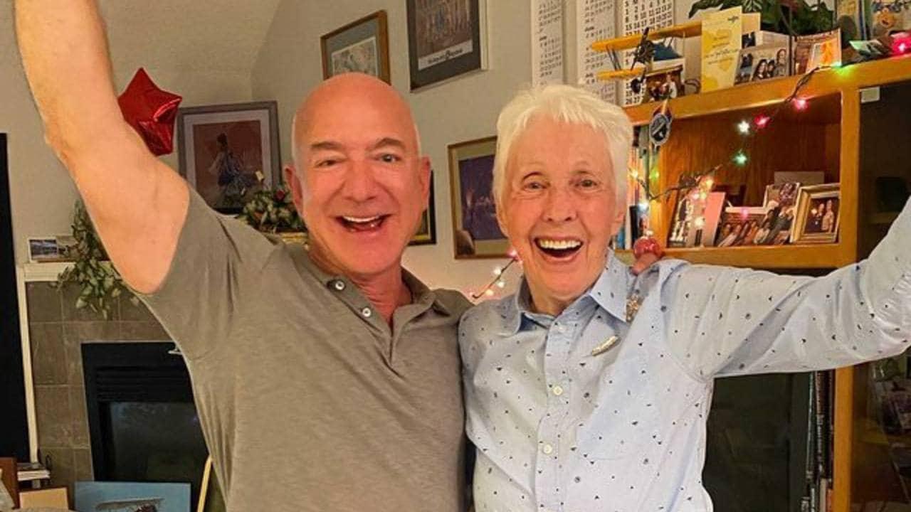 Blue Origin founder Jeff Bezos and Wally Funk. Image credit: Instagram/Jeff Bezos