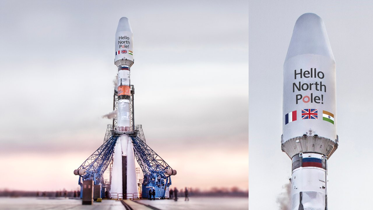 """OneWeb's eight launch has the words """"Hello North Pole"""" is branded on the Russian Soyuz rocket. Image credit: OneWeb"""
