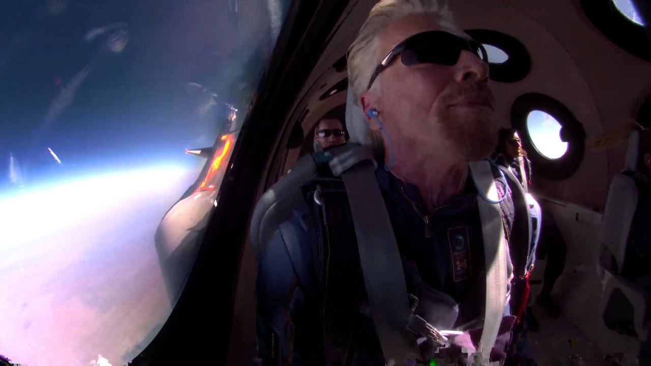 Virgin Galactic CEO Richard Branson in space during the aerospace company's first crewed spaceflight. Image credit: Virgin Galactic