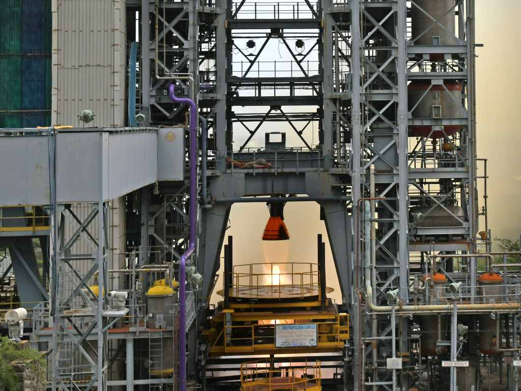 On July 14, 2021, ISRO has successfully conducted the third long duration hot test of the liquid propellant Vikas Engine for the core L110 liquid stage of the human rated GSLV MkIII vehicle, as part of the engine qualification requirements for the Gaganyaan Programme. Image credit: ISRO