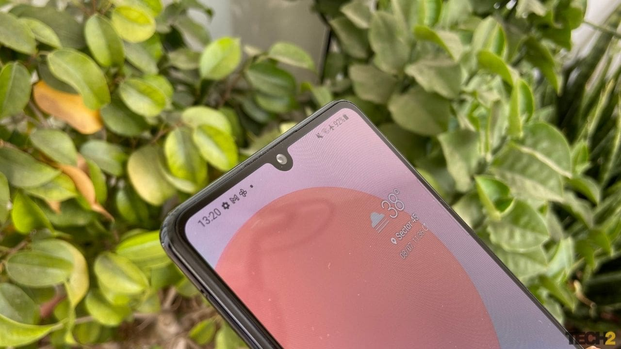 The selfie camera on the Galaxy M42 5G sits in a dew drop notch. Image: Nandini Yadav