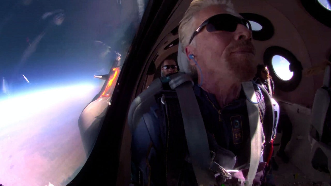 Richard Branson in space during his first spaceflight on Sunday. Image credit: Twitter/Virgin Galactic