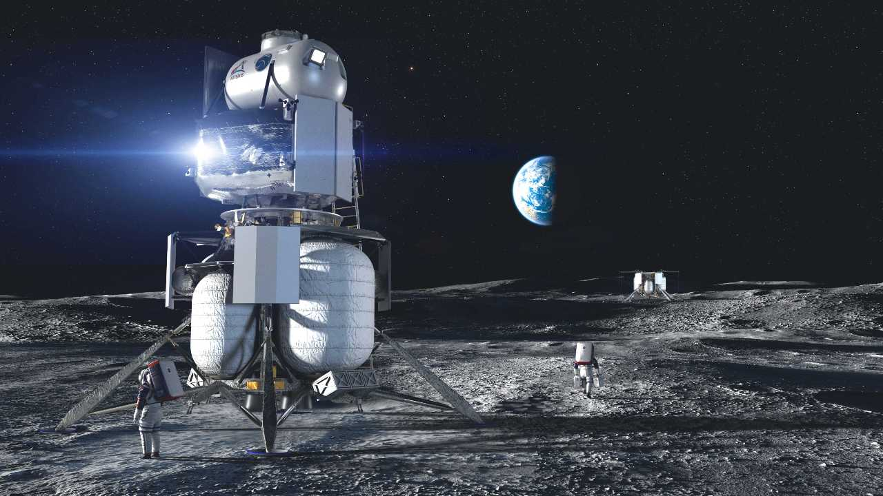 Artist illustration of the Blue Origin National Team crewed lander on the surface of the Moon. Image credit: Blue Origin
