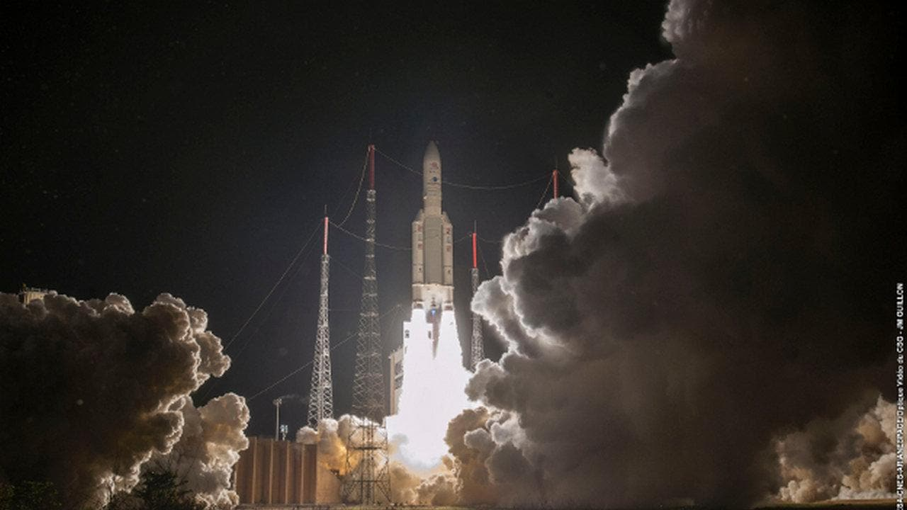 BepiColombo spacecraft launched by ESA and JAXA for a seven year journey to Mercury