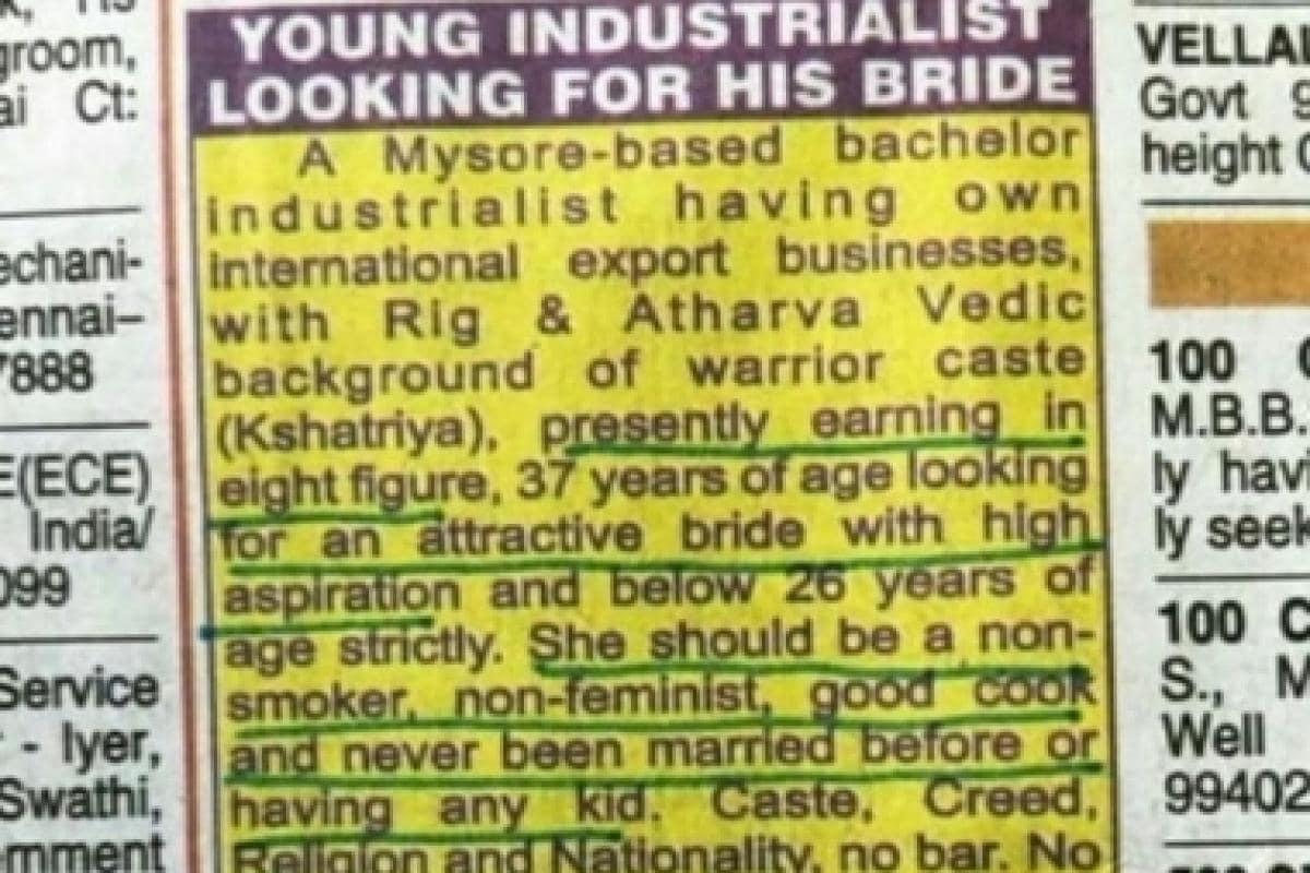 Sexist matrimonial ad seeks 'non-feminist' bride