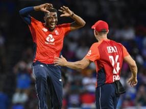West Indies vs England: Chris Jordan's four-wicket haul helps visitors bowl Windies out for 45 as visitors win second T20I by 137 runs