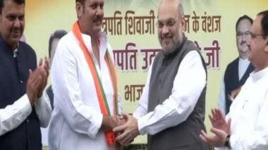 NCP MP Udayanraje Bhosale, descendant of Chhatrapati Shivaji, joins BJP in presence of Amit Shah in New Delhi