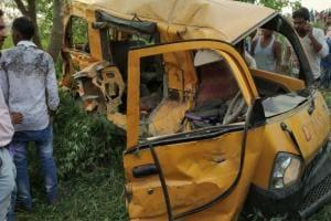 Bus-train collision kills 13 children in Uttar Pradesh's Kushinagar; locals demand manned railway crossing