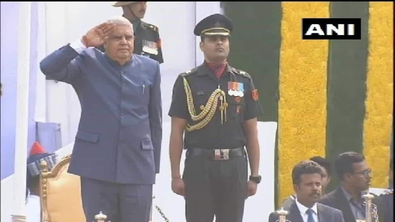 Republic Day: West Bengal governor Jagdeep Dhankhar unfurls Tricolour, presides over ceremonial march by armed forces in Kolkata's Red Road - Firstpost