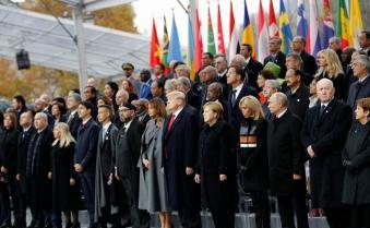 World leaders mark World War I centenary in Paris; French president Emmanuel Macron hosts ceremony