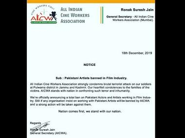 After Pulwama terror attack, All India Cine Workers Association announces complete ban on Pakistani artistes