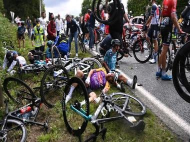 Tour de France 2021: Riders stage symbolic protest calling for increased safety after crashes mar opening days of event
