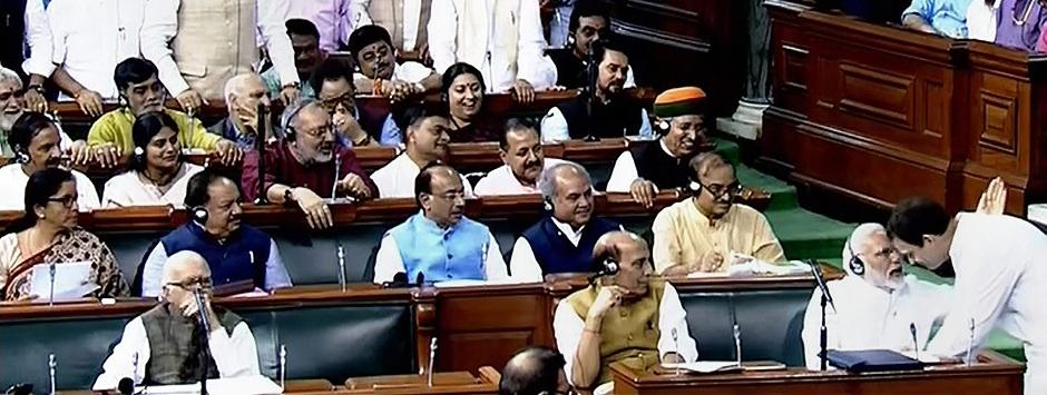 No-confidence motion LIVE updates: Speaker objects to Rahul's 'hugplomacy'; Rajnath calls it 'chipko movement'