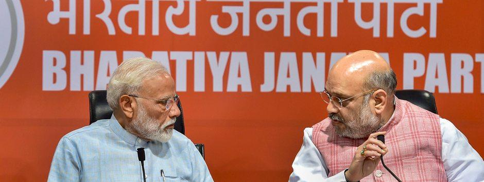 Narendra Modi surprises media with appearance at press conference, exudes confidence on BJP win in LS polls