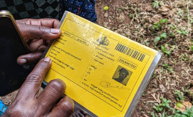 A close up of Meenakshi's ration card. Image: Nevin Thomas