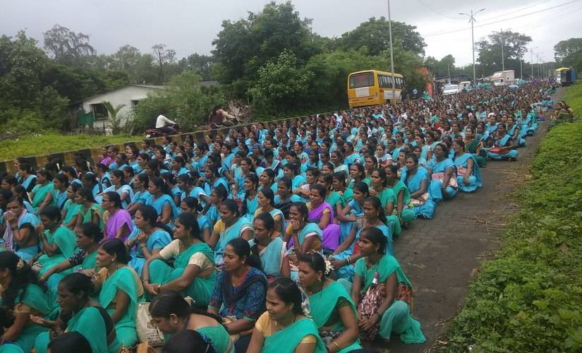 ASHA workers across Palghar district went on strike from 8 to 17 September. Image courtesy: Shraddha Ghatge