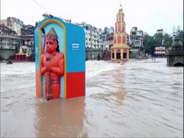 Godavari river rises above danger mark in Nashik; temples, tall statues submerged due to waterlogging