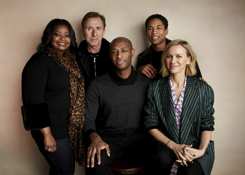 """Octavia Spencer, from left, Tim Roth, director Julius Onah, Kelvin Harrison Jr., and Naomi Watts pose for a portrait to promote the film """"Luce"""" at the Salesforce Music Lodge during the Sundance Film Festival on Saturday, Jan. 26, 2019, in Park City, Utah. (Photo by Taylor Jewell/Invision/AP)"""