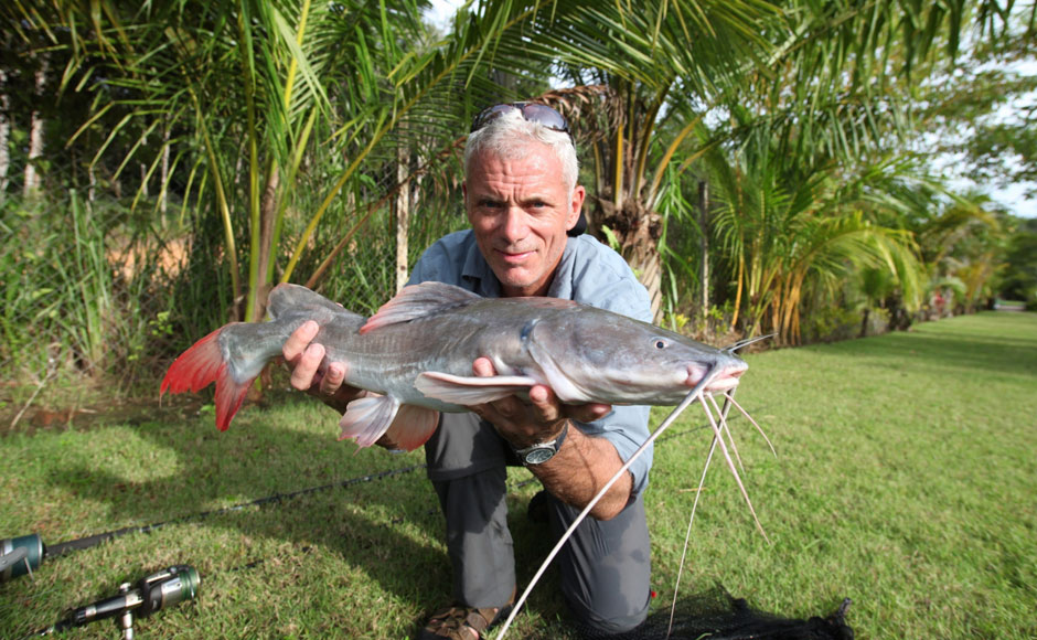 Jeremy Wade holds a redtail catfish in this photo. Image courtesy: Animal Planet.