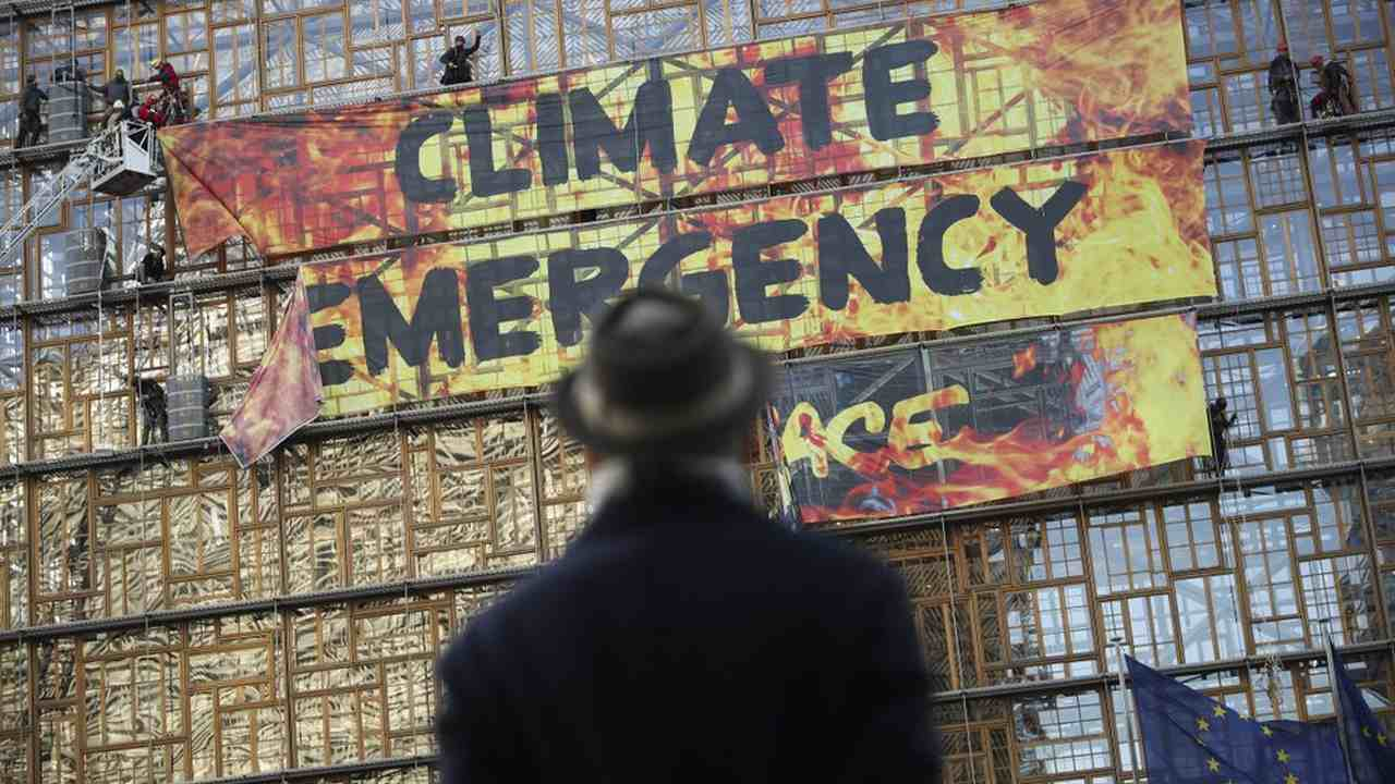 Climate protesters had put up banners for climate emergency. Image credit: AP