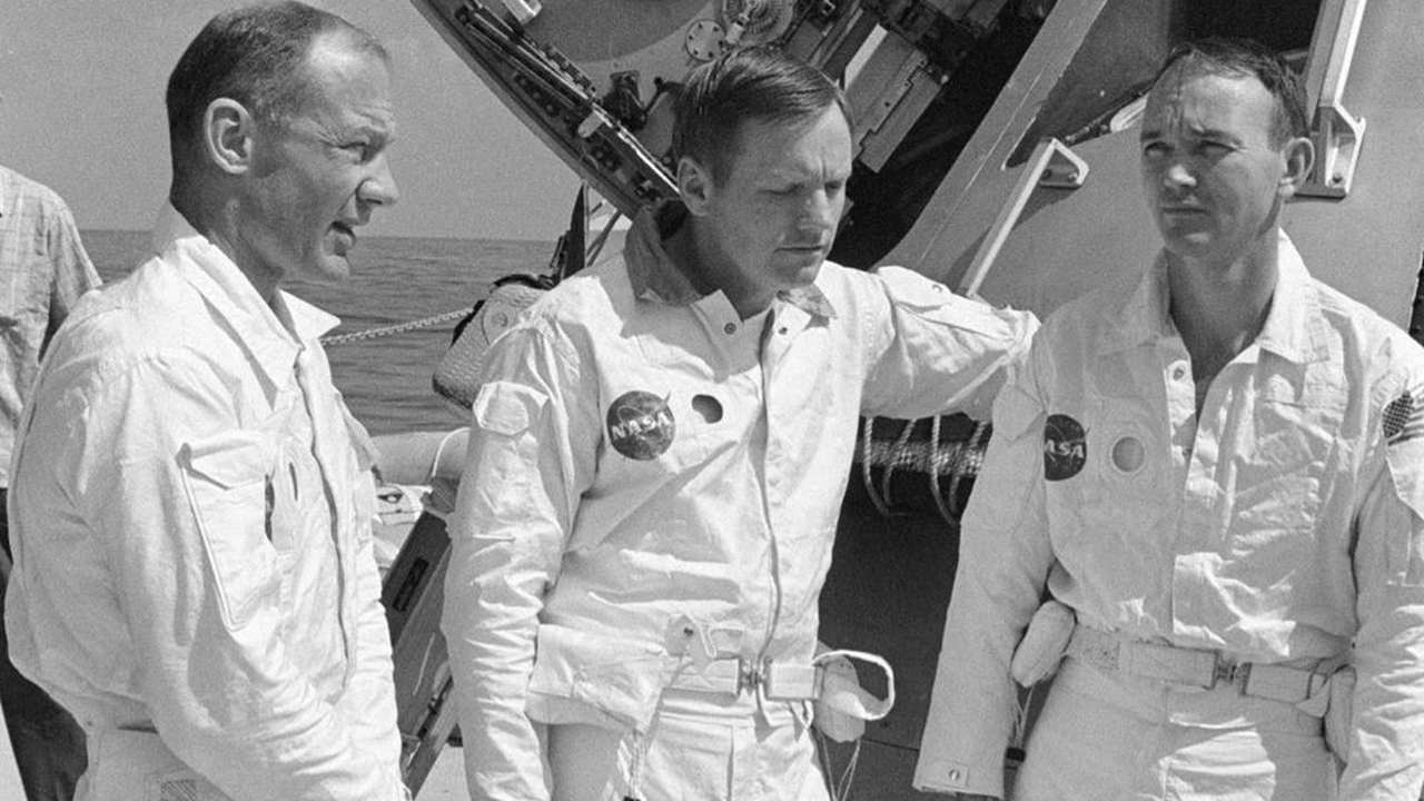 A file photo of three astronauts – Michael Collins, Neil Armstrong and Buzz Aldrin before the moon landing that took place on 20 July 1969. Image: NASA