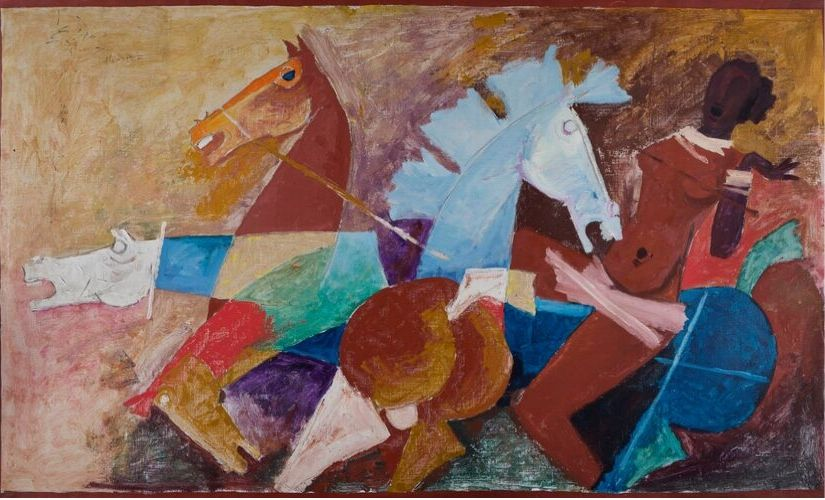 'Woman and Four Horses', by MF Husain. c 1976. Image courtesy: Museum of Art and Photography