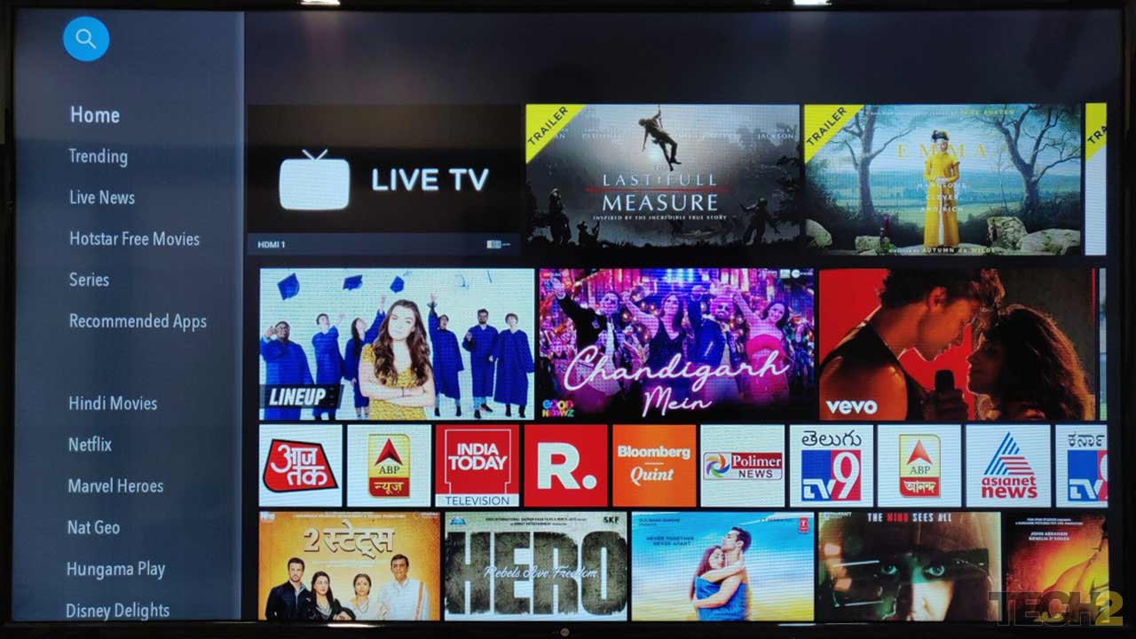 The user-interface of the Daiwai D50F58S Smart TV. Image: Ameya Dalvi/tech2