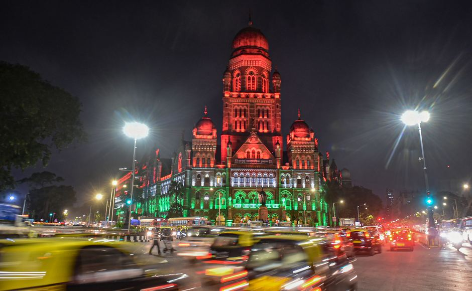 In India's financial hub, the Brihanmumbai Municipal Corporation (BMC) building was lit-up in Tricolour on Tuesday. PTI