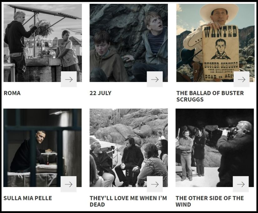 The six Netflix films releasing at Venice Film Festival this year. Image courtesy: La Biennale