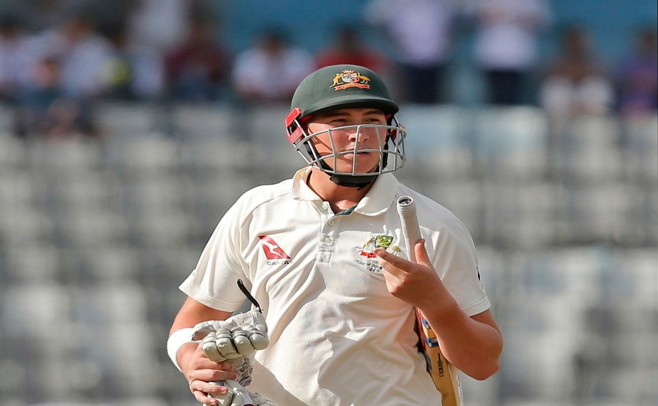 Australian opener Matt Renshaw fell cheaply in the chase as Mehidy Hasan trapped him leg before wicket in the 9th over of Australia's 2nd innings. AP