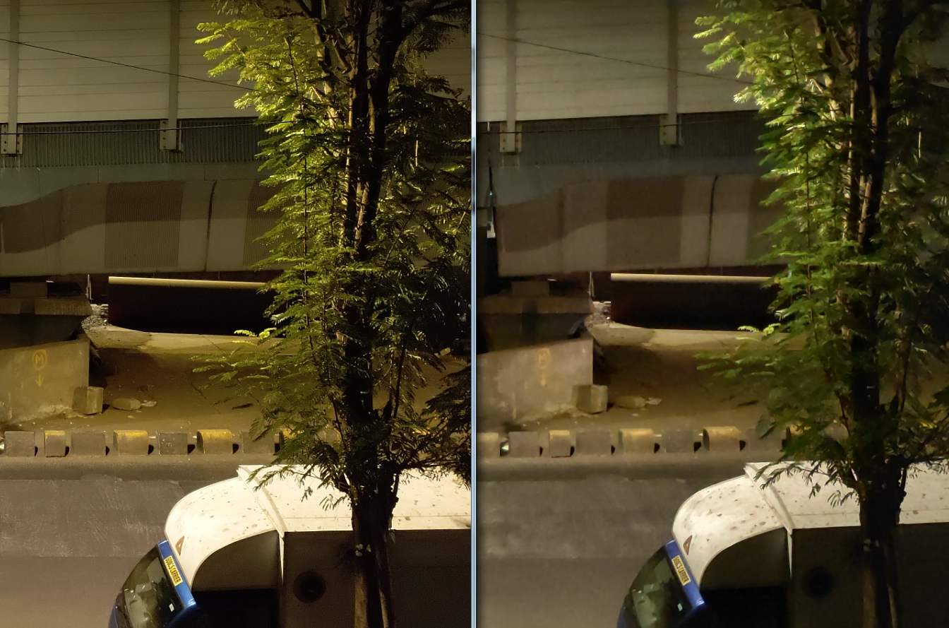 The Nokia 8.1 (Left) showcases far more detail and the images also look a lot sharper compared to the blurry output of the Poco F1 (Right). Image: tech2/Sheldon Pinto