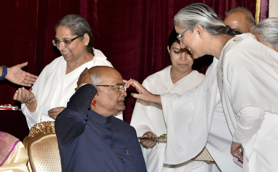 Members of Gujarat's Koli community met and greeted President Ramnath Kovind and his wife on the occasion of Raksha Bandhan on Monday. PTI