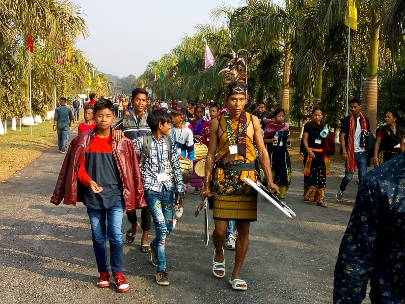 People from various tribes in their traditional clothes during the Tribal Sports Meet in Guwahati in December 2018. Sanjib Kr Baruah